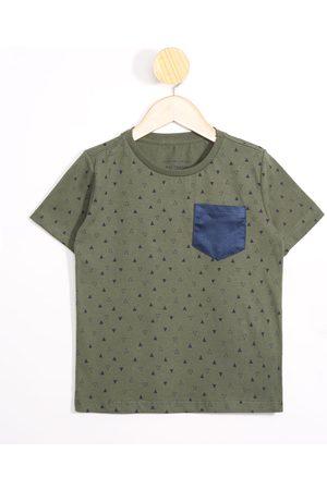 PALOMINO Menino Camisolas de Manga Curta - Camiseta Infantil Geométrico com Bolso Manga Curta Gola Careca Verde Militar
