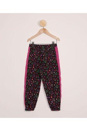 PALOMINO Menina Calça Jogger - Calça Infantil Jogger Estampada de Estrelas Preta