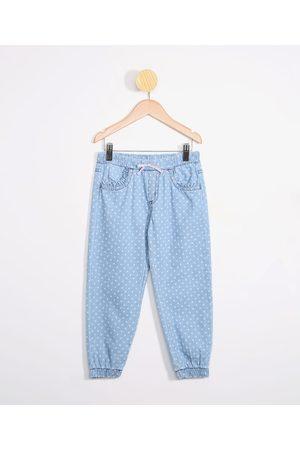 PALOMINO Menina Calça Jogger - Calça Infantil Jogger Jeans Estampada de Poá Médio