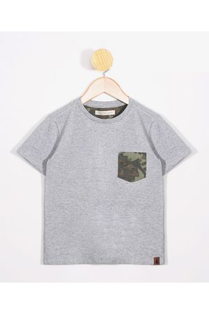PALOMINO Menino Camisolas de Manga Curta - Camiseta Infantil com Bolso Estampado Camuflado Manga Curta Gola Careca Mescla