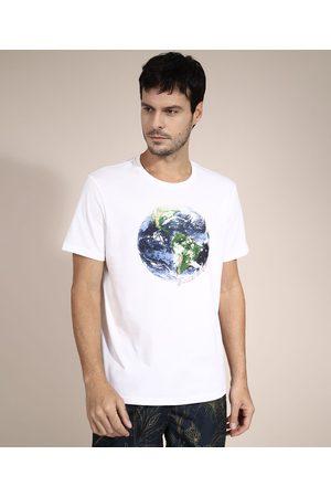 """Suncoast Camiseta de Algodão O Mundo Dá Voltas"""" Manga Curta Gola Careca Branca"""""""