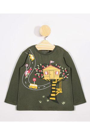 BABY CLUB Menino Camisolas de Manga Larga - Camiseta Infantil Estampa Interativa Casinha Manga Longa Gola Careca Militar