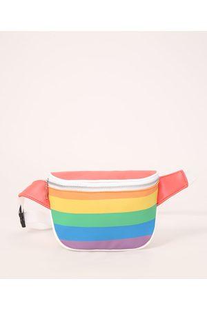 C&A Homem Mochila - Pochete Masculina Pride com Alça Estampada Arco-Íris Multicor