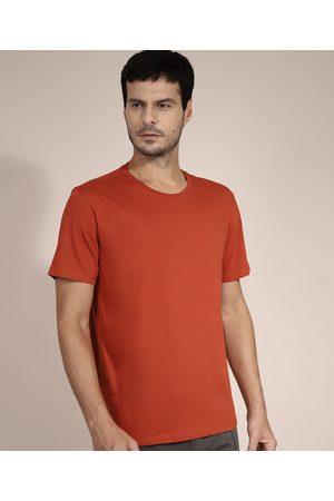 Basics Homem Camisolas de Manga Curta - Camiseta de Algodão Básica Manga Curta Gola Careca