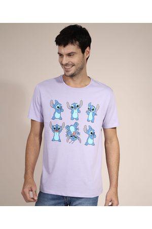 Disney Camiseta de Algodão Stitch Manga Curta Gola Careca Lilás