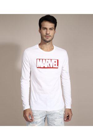 Marvel Camiseta Manga Longa Gola Careca Branca