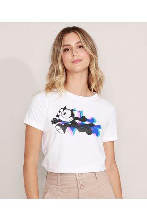Universal Mulher Camiseta - Camiseta Gato Félix Manga Curta Decote Redondo Off White