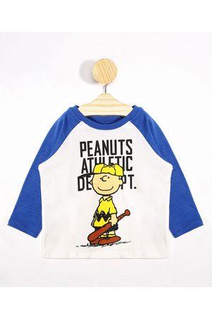 Snoopy Camiseta Infantil Raglan Manga Longa Gola Careca Off White