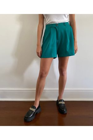 Mindse7 Mulher Bermuda - Bermuda Feminina Mindset Cintura Alta Alfaiataria com Bolsos Escuro
