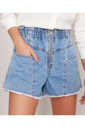 Clockhouse Shrot Clochard Jeans Marmorizado com Zíper Cintura Super Alta Claro