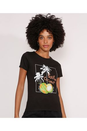 "Clockhouse Camiseta Positive Coconut"" Manga Curta Decote Redondo Preta"""