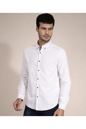 AL Contemporâneo Homem Camisa Casual - Camisa de Algodão Comfort Listrada Manga Longa Branca