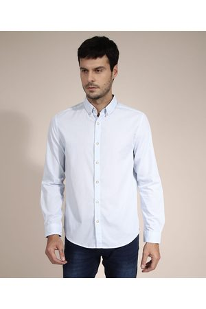AL Contemporâneo Camisa Comfort Estampada Xadrez Vichy Manga Longa Azul Claro