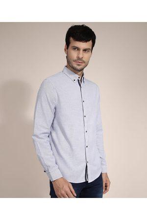 AL Contemporâneo Camisa de Algodão Comfort Listrada Manga Longa Azul Marinho