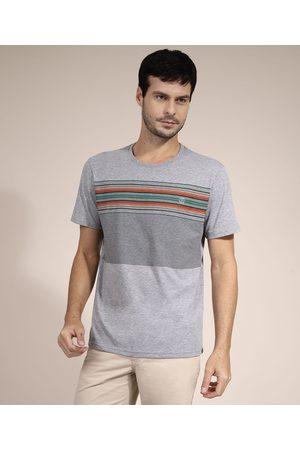 Suncoast Homem Camisolas de Manga Curta - Camiseta com Estampa de Listras Manga Curta Gola Careca Mescla Claro