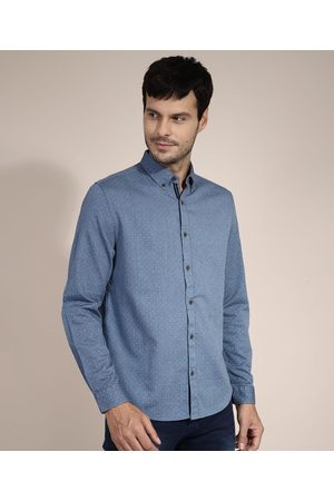 AL Contemporâneo Camisa de Algodão Comfort Estampada de Poá Manga Longa Azul