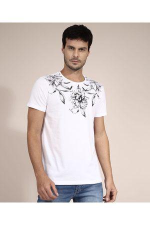 AL Contemporâneo Homem Camisolas de Manga Curta - Camiseta de Algodão Floral Manga Curta Gola Careca Branca