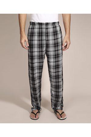 ANGELO LITRICO Homem Pijamas - Calça de Pijama em Flanela Estampada Xadrez com Bolso Preta