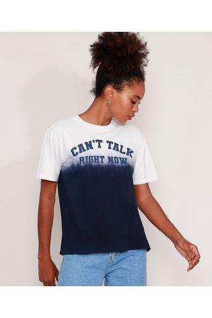 """Mindse7 Mulher Camiseta - T-Shirt de Algodão Can't Talk"""" com Degradê Manga Curta Decote Redondo Mindset Azul Marinho"""""""