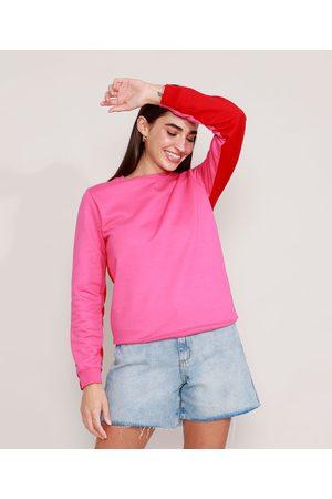 Clockhouse Mulher Casacos - Blusão de Moletom Básico Bicolor Decote Redondo Pink