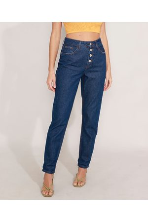 Clockhouse Mulher Calça Cintura Alta - Calça Mom Jeans com Botões Cintura Super Alta Escuro