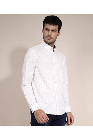AL Contemporâneo Camisa Comfort Estampada Mini Print Manga Longa Branca