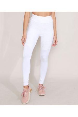 ACE Mulher Calça Legging - Calça Legging Texturizada Esportiva com Recorte Cintura Alta Branca