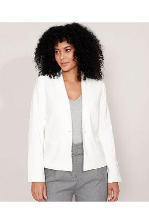 Basics Mulher Blazer - Blazer Básico com Bolsos Off White