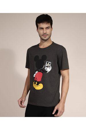 Disney Homem Camisolas de Manga Curta - Camiseta Mickey Mouse Manga Curta Gola Careca Mescla Escuro