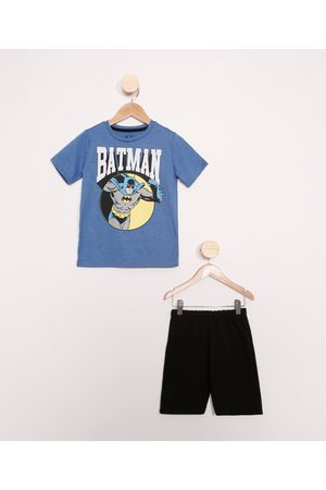 Warner Bros Menino Sets - Conjunto Infantil de Camiseta Manga Curta Batman + Bermuda Preto