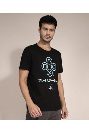 Playstation 3 Homem Camisolas de Manga Curta - Camiseta de Algodão Manga Curta Gola Careca Preta