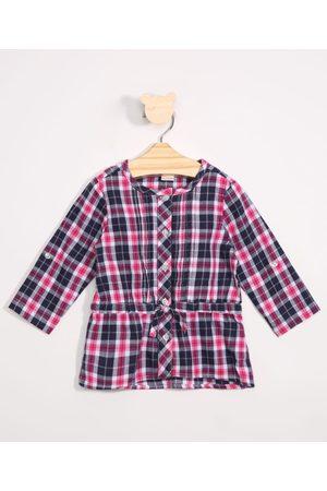 Baby Club Menina Camisa Manga Comprida - Camisa Infantil Estampada Xadrez Manga Longa Rosa Escuro