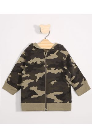 BABY CLUB Menino Casacos - Blusão Infantil de Moletom Camuflado com Capuz Verde Militar
