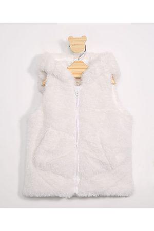BABY CLUB Colete Infantil de Pelo com Capuz Off White