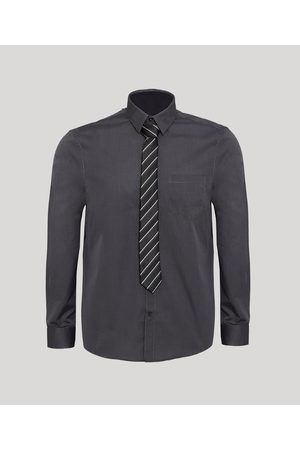 Angelo Lítrico Kit de Camisa Social Comfort com Bolso Manga Longa + Gravata de Jacquard Listrada Chumbo