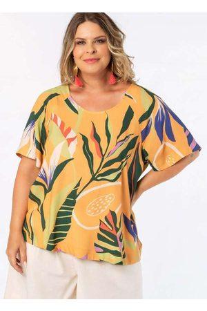 Munny Mulher Blusas de Manga Curta - Blusa Almaria Plus Size Estampada