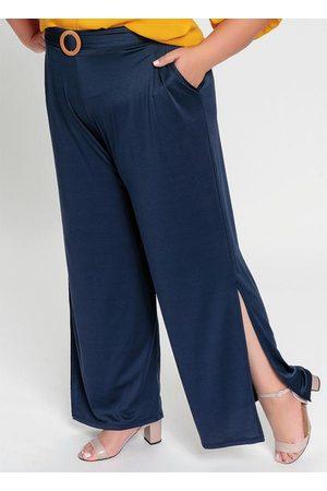 Mink Mulher Calça Pantalona - Calça Pantalona com Fendas nas Laterais