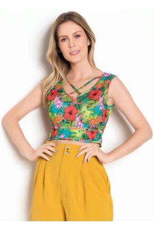 Moda Pop Mulher Básica - Top Cropped Floral com Strappy