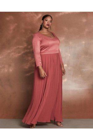 Pianeta Vestido Almaria Plus Size Longo Saia Pliss