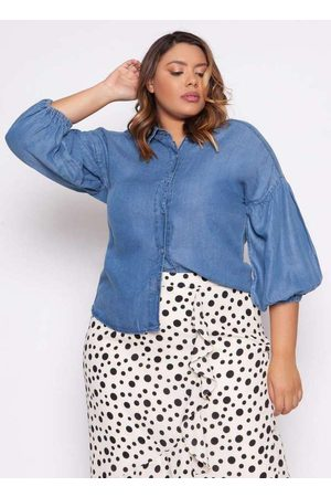 Izzat Mulher Camisa Jeans - Camisa Almaria Plus Size Marignane Jeans Azu