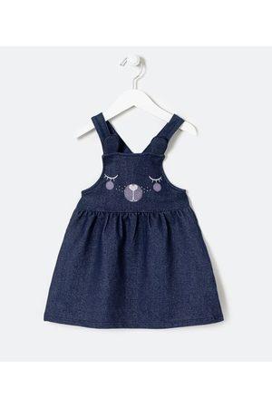 Póim (1 a 5 anos) Salopete Infantil em Jeans Estampa Cara de Bichinho - Tam 1 a 5 anos       01