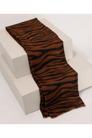C&A Mulher Lenços & Cachecol - Lenço Feminino Animal Print Zebra Marrom