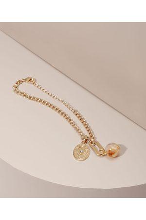 C&A Mulher Pulseiras - Pulseira com Pingente de Medalha e Pedra Dourada
