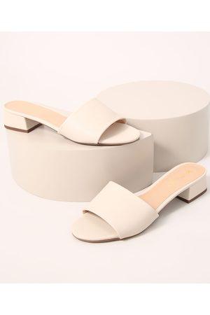 Via Uno Mulher Sapato Mule - Tamanco Feminino Salto Médio Off White
