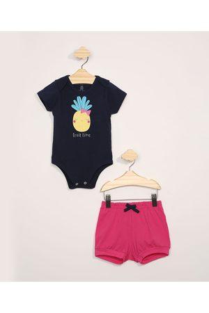 Baby Club Conjunto Infantil Body Manga Curta Abacaxi Azul Marinho + Short Claro