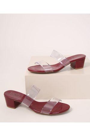 Bebece Mulher Sapato Mule - Tamanco Feminino em Vinil Salto Médio Bebecê