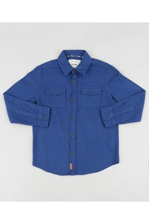 Palomino Menino Camisa Manga Comprida - Camisa Infantil Estampada Xadrez com Bolsos Manga Longa Azul