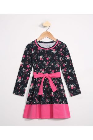 Palomino Menina Vestido Estampado - Vestido Infantil Floral Manga Longa Azul Marinha