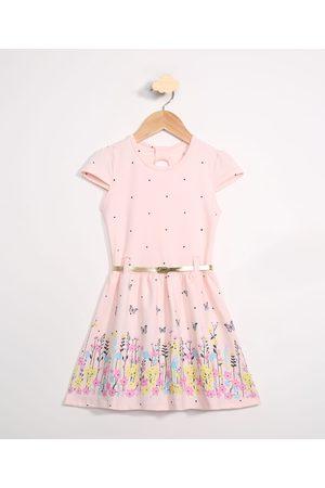 PALOMINO Menina Vestidos - Vestido Infantil Borboletas e Poá Manga Curta com Cinto Rosa