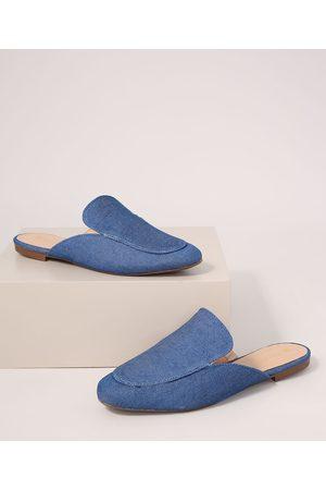Via Uno Mule Feminino Jeans Bico Redondo